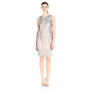 Calvin Klein silver sequined illusion sheath dress
